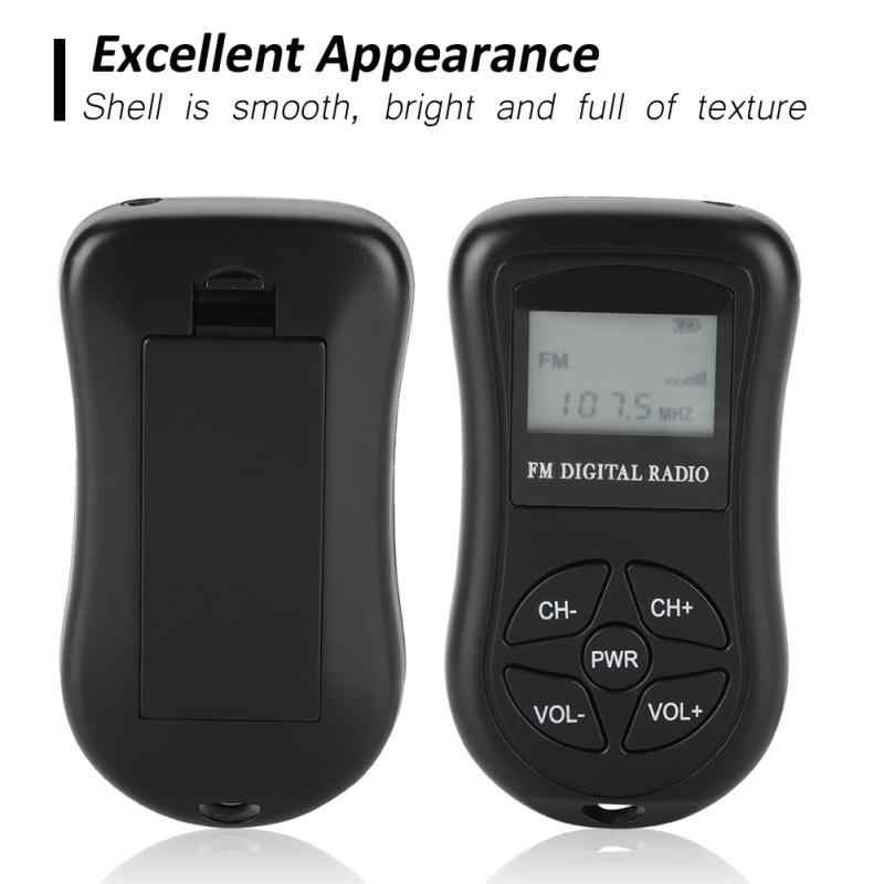 Small Portable Radio Compact Button Tosuny LCD Radio with Earphones Lanyard Continuous Use for 50-60 Hours Clear LCD Display Black