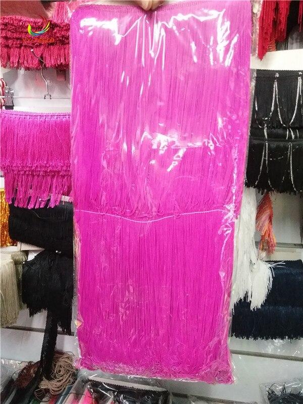 100 CM Long Polyester dentelle gland frange dentelle ruban d'habillage coudre Latin robe scène vêtement rideau bricolage accessoires Rose rouge