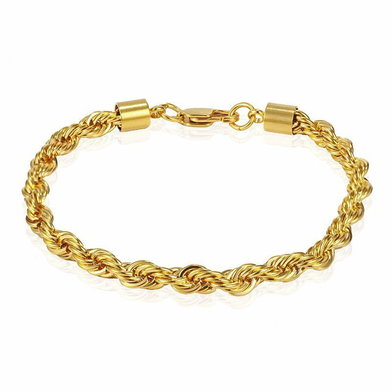 2019 Classic Stainless Steel Golden Lobster Clasp Twisted Chain Bracelet Delicate Rope Chain Bracelet Jewellery Gifts For Him