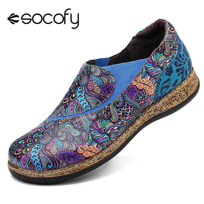 SOCOFY Slip On Casual Flats Leather Splicing Printed Pattern Flat Shoes Leather Splicing Printed Pattern Slip-On Fashion FlatsSOCOFY Slip On Casual Flats Leather Splicing Printed Pattern Flat Shoes Leather Splicing Printed Pattern Slip-On Fashion Flats