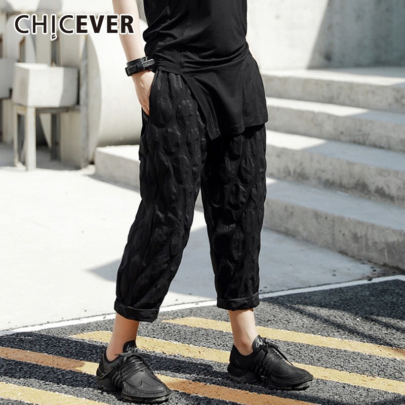 CHICEVER Summer Casual Thin Pressure Ring Solid Black Women Pant Elastic Waist Pockets Striaht Ankle Length Pants 2019 Fashion