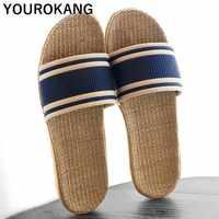 Summer Flax Home Slippers 2019 Women Shoes Indoor Linen Slippers Lightweight Beach Footwear Unisex Couple Sandals Plus Size