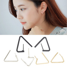 Trendy Casual Zinc Alloy Gold Silver Plated Black Gun Geometric Triangle Cushion Womens Stud Earrings