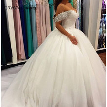 CRYSTAL JIANG New Fashion Wedding Dress 2018 Off the Shoulder Heavy Beading Custom made Big Train Ball Gown Vestido de noiva