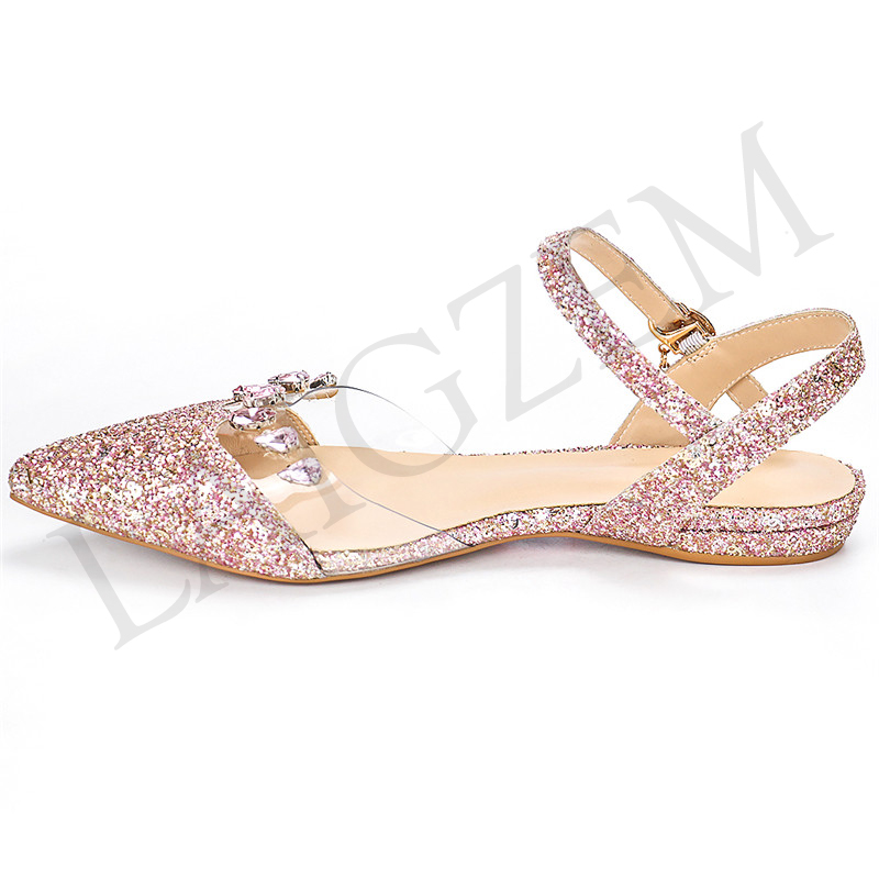 Planos Gran Lgz206 De Zapatos Bajo Las Bling Mujeres Tamaño 34 42 Lentejuelas Moda Tacones Femenino Puntiagudos Sapato Rhinestone Sandalias Laigzem Mujer Pink wdFqzxawR
