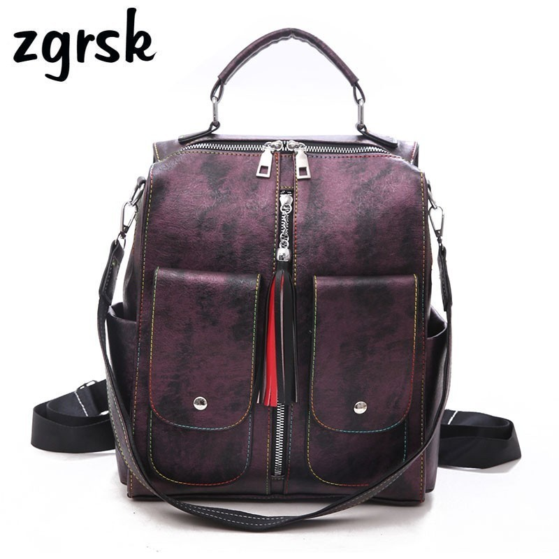Leather Women Laptop Anti Theft Backpack Zipper School Backpacks Teenage Large Capacity Multifunction Mochila Feminina Bagpack