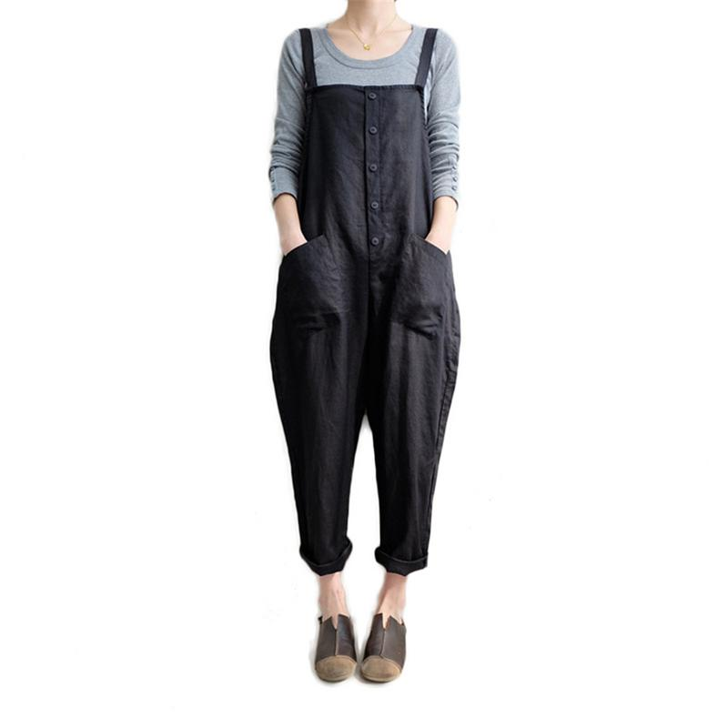 2019 New Womens Casual Loose Linen Pants Cotton Jumpsuit Strap Harem Trousers Overalls Overalls Loose Harem Pants Trousers