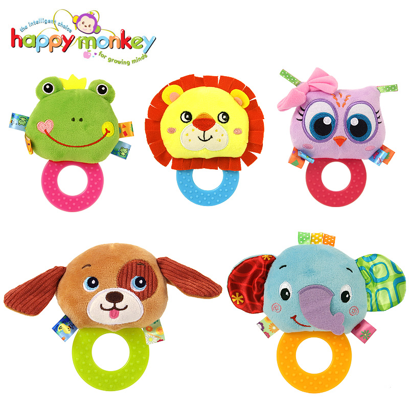 Happy Monkey Baby Rattle Toys Soft Cute Animals Teething Infant Development Educational Toys For 0-12 Months Children Gift
