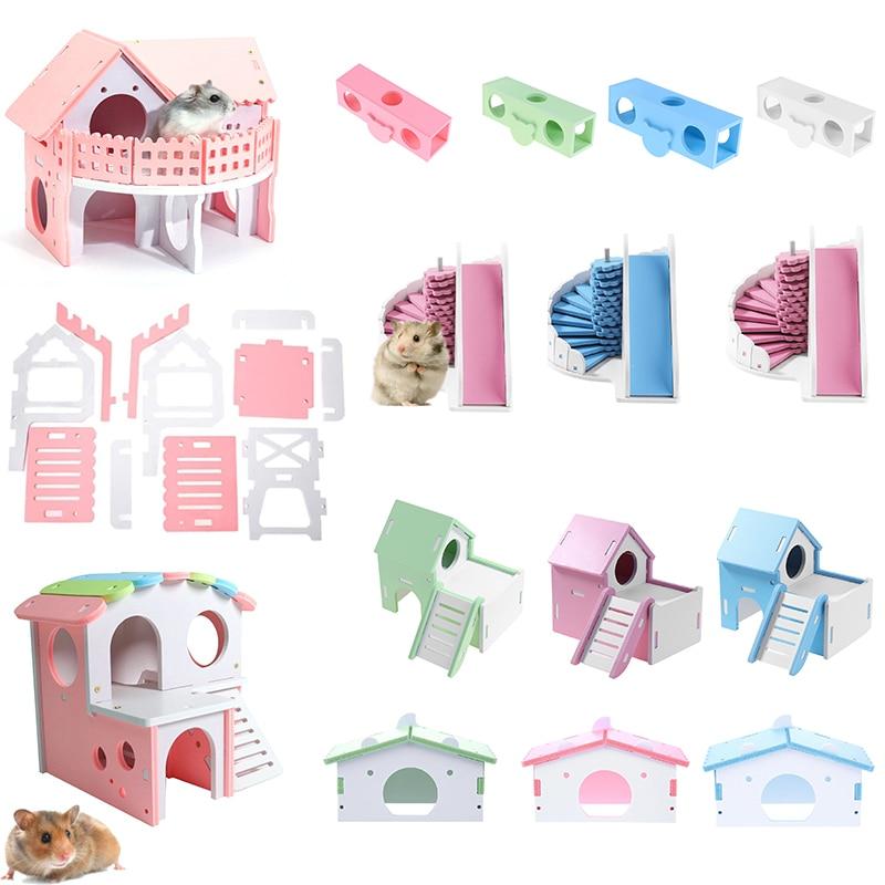 1pcs Luxurious Hamster House Swing Toy Slide Hamsters Nest Loft Bed Cage Nest Pet Hedgehog Castle Climb Toys Small Pet House