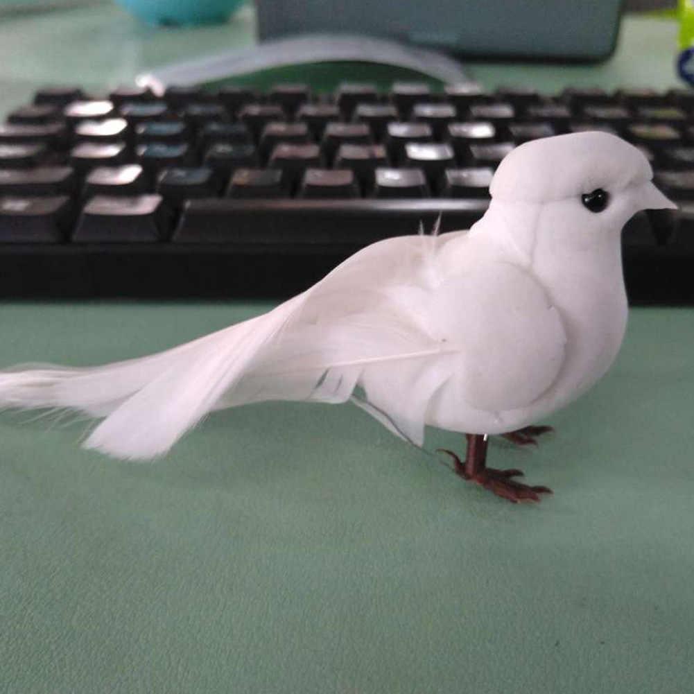 Crafts Artificial Pigeons Cute Bird Miniature Decor White Feather Foam Ornaments #20