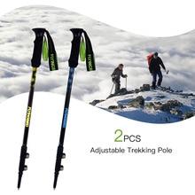 1 Pair Anti Shock Trekking Pole Adjustable Aluminum Alloy Hiking Telescopic Walking Stick Collapsible Quick Locks Sticks