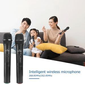 Image 5 - 2 Chiếc 268.85 MHz/262.85 MHz Thông Minh Micro Không Dây Màu Đen Cho Phòng Thu Âm Karaoke Cầm Tay Mic Hát Karaoke Với USB đầu Thu