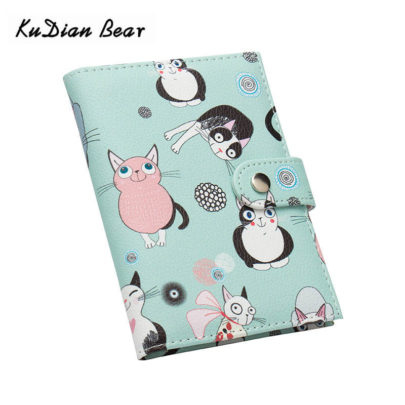 KUDIAN BEAR Cute Cartoon Women Passport Cover Leather Passport Holder Travel Cover For Documents Credit Card Holder BIY054 PM49