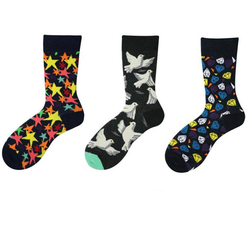 Underwear & Sleepwears Active Men Socks Cartoon Flower Pigeon Zebra Stripes Diamond Lattice Stars Happy Funny Hip Hop Harajuku Street Male Skate Cotton Socks Skillful Manufacture