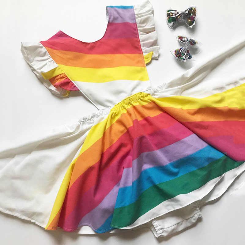 1-5T para niños pequeños, vestido de princesa bonito, vestido elegante de verano con rayas de arco iris, vestido de tutú de fiesta, bonito vestido para tomar el sol sin espalda