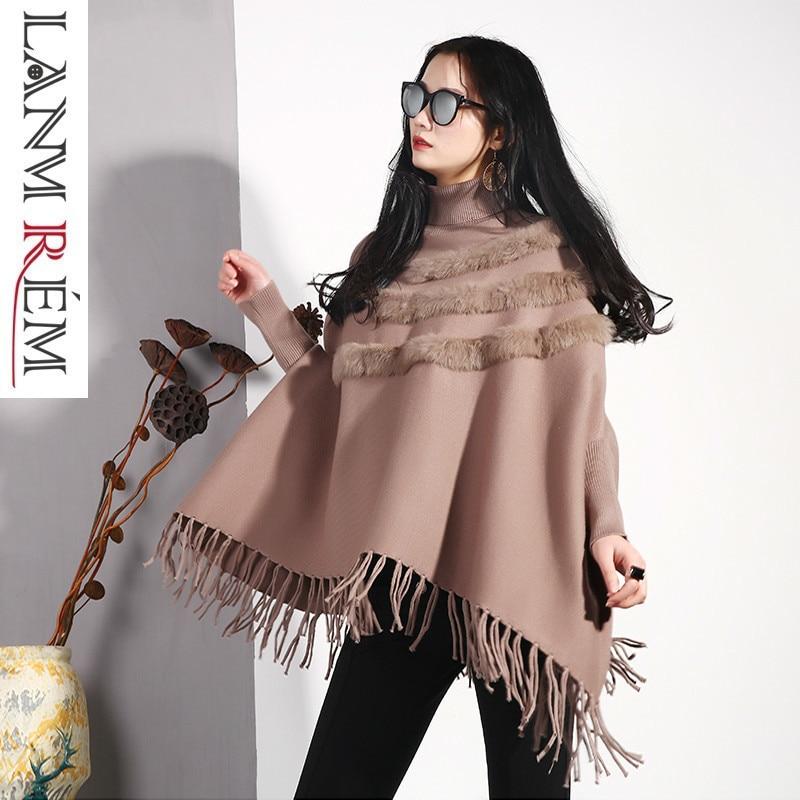 Turtleneck Tassel Lanmrem Spring Women's Tops Red Autumn Vestido Knitting And Cloak Type Shawl Pullovers Sweater Bat black Fa285 khaki Sleeve qpCcwxdp
