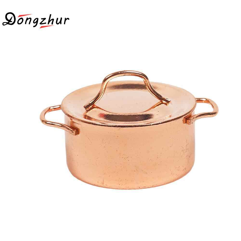 Dongzhur Mini Pan Alloy Dollhouse Kitchen Accessories Doll House Miniatures 1:12 Accessories Mini Kitchenware Miniature Hot Pot