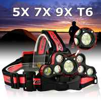 Mising 120000LM 9xT6 LED Rechargeable Headlight Torch Headlamp Head Light Lamp for hunting cycling mountaineering camping