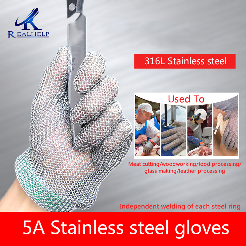 5A High Quality316L Stainless steel gloves protective gloves slaughter anti cutting kitchen anti cutting stainless steel gloves