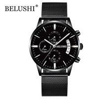 Watch Men Waterproof Date Calendar Chronograph Wristwatches Mens Business Casual Quartz Watches For Man Belushi luxury brand