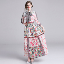 Banulin New Arrival 2018 Spring Womens Turn Down Collar Long Sleeve Floral Printed Striped Pleated Elegant Maxi Runway Dresses