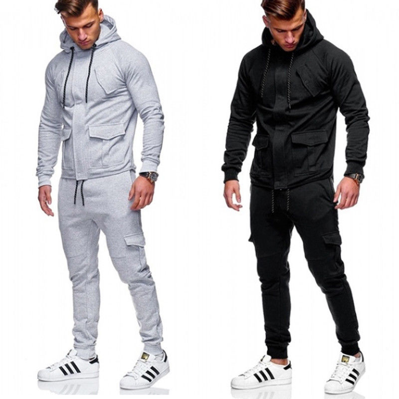 Thefound 2019 New Man's Hooded Zip Tracksuit Overhead Hoodie Jogging Top Pant Set Sports Suits