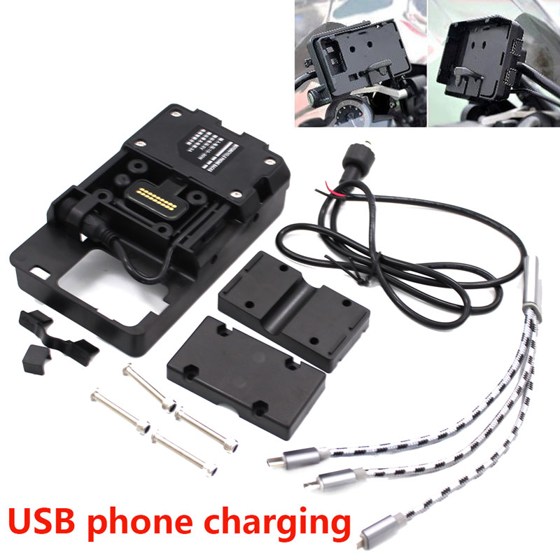 Motorcycle USB Charging 12MM Mount Mobile Phone Navigation Bracket For BMW R1200GS ADV F700 800GS CRF1000L Africa Twin For Honda