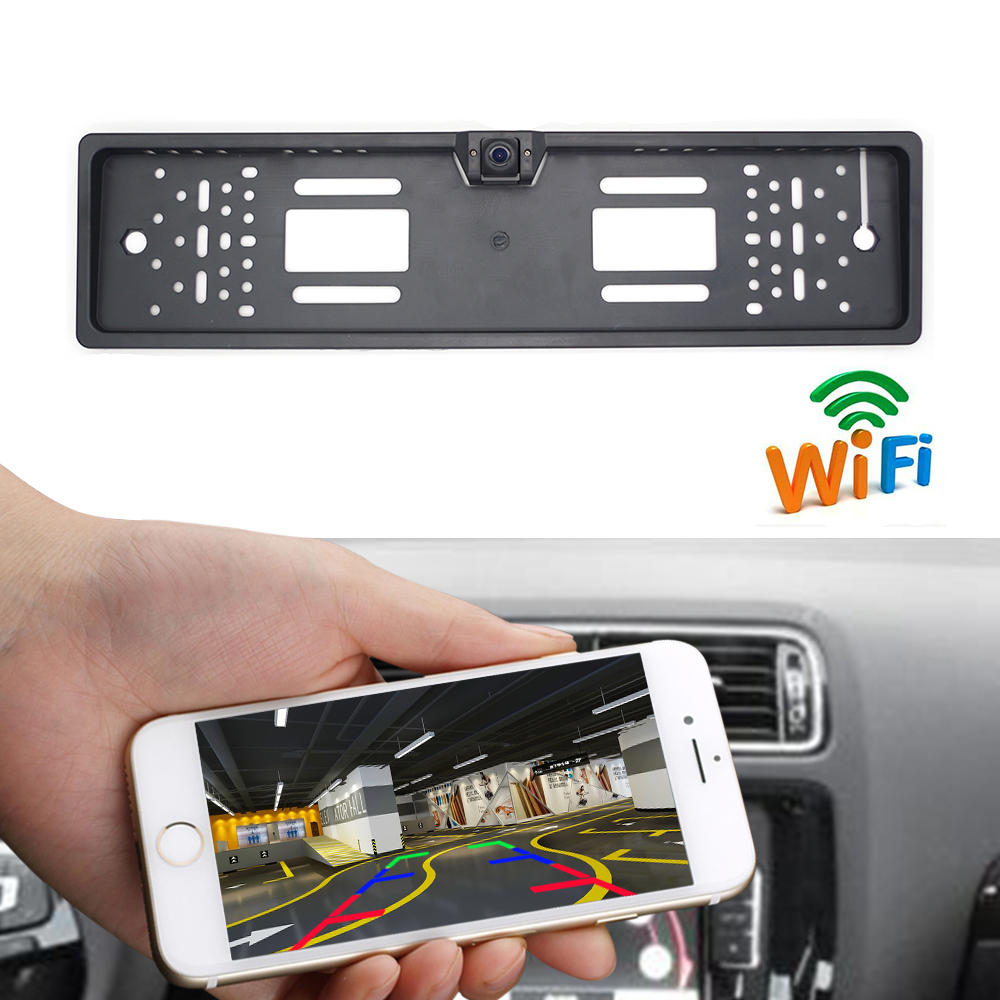 Newest!!! WIFI Car DVR Dash Cam Car Rear View Camera Wireless European Car License Plate Frame Reverse Camera For IOS Android