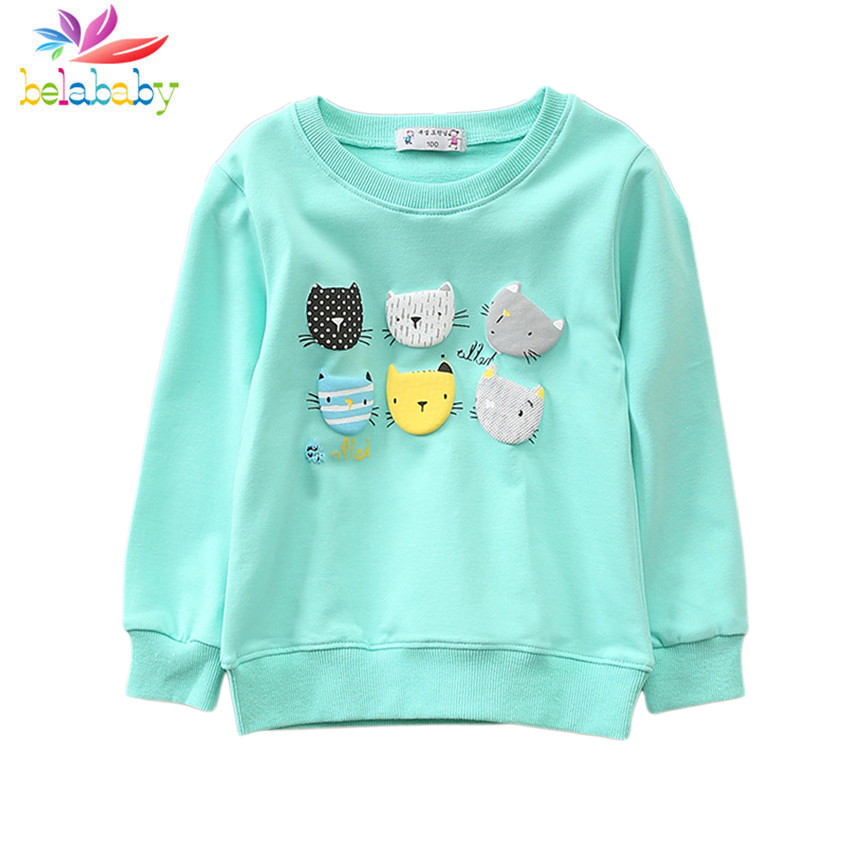 2019 4 Colors Spring Cartoon Long Sleeve Sweatshirts Cotton Cats Hoodies for Baby Girls O-Neck Sports Girls Kids Hoodies Clothes