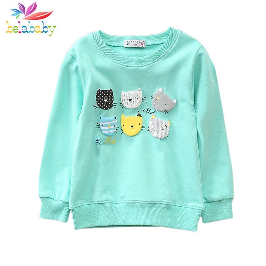 2019 4 Farben Frühling Cartoon Langarm Sweatshirts Baumwolle Katzen Hoodies Für Baby Mädchen Oansatz Sport Mädchen Kinder Hoodies Kleidung