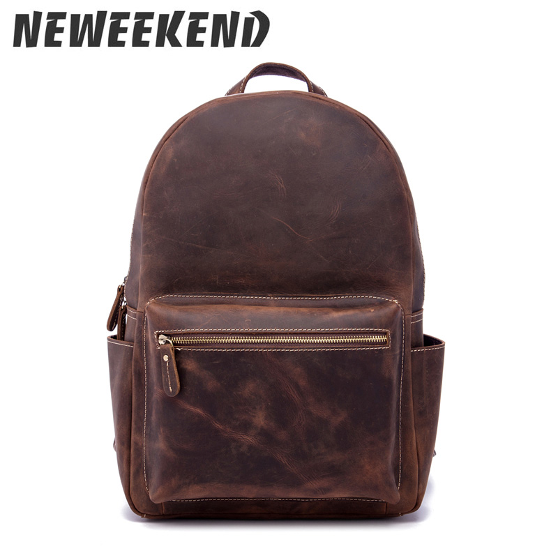 Vintage Style Crazy Horse Genuine Cowhide Leather Casual Backpack Travel Shoulder Laptop Bag Business School Bag