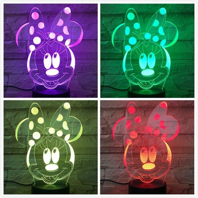 Minnie Mouse Figure Usb 3d Led Night Light Boys Girls Child Kids Baby Gift  Hologram Decorative Lights Table Lamp Bedside 488582e8140f