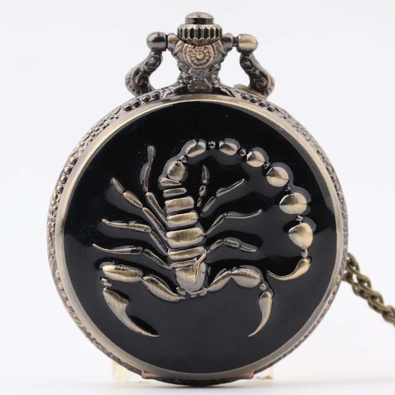 Pocket & Fob Watch Bronze Animal Scorpion  Quartz Pocket Watch Necklace Pendant Watch Chain Xmas Watch Gift Men/Women