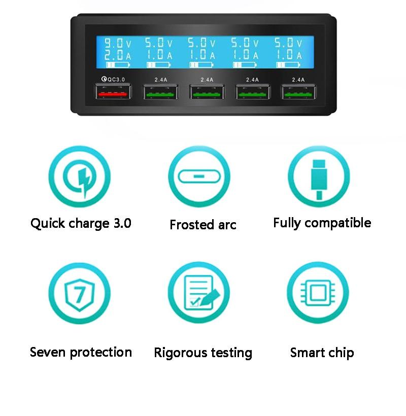 Chargeur de voiture Qualcomm QC3.0 chargeur USB Portable Multi Port USB chargeur rapide prise USB 5 ports chargeur rapide pour xiaomi powerbank