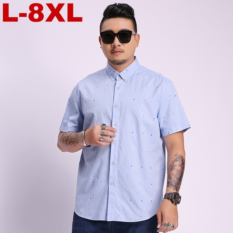 2019 Plus Size Summer Short Sleeves Shirts Men Casual Fit Printing Shirts Men Large Size 5xl 6xl 7xl 8xl Business Casual