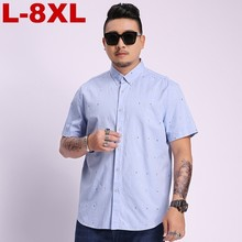 2019 Plus Size Summer Short Sleeves Shirts Men Casual Fit Printing Large 5xl 6xl 7xl 8xl Business