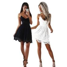Sexy Lace Backless Hollow Out Dress Camisole Solid Color Low-waist Sleeveless V-Neck Party Short Dress For Women New Hot
