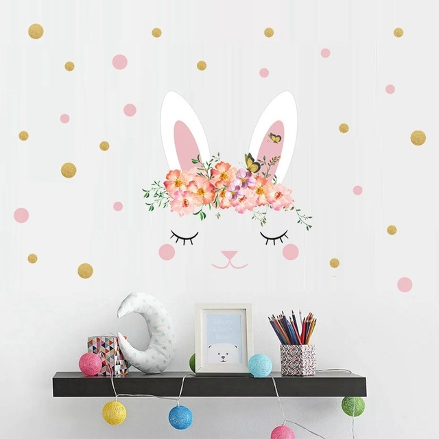 1pcs Rabbit Easter Wall Sticker Removable Waterproof Children Wall Mount Decal Label Sticker For Home Decor