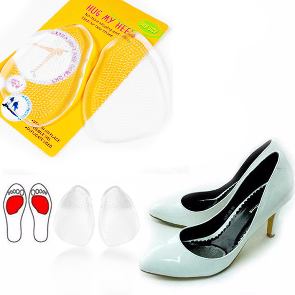 New Transparent Silicone Forefoot Insoles Gel Heel Cushion Protector Shoe Insert Shoe Pad Soft Band Sticky Insoles For Shoes