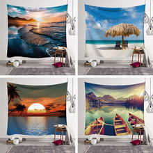 LYN&GY Blue Sky White Cloud Tapestry Wall Hanging Scenic Sea Beach Coconut Tapestries Bedspread Picnic Bedsheet Blanket 4 sizes