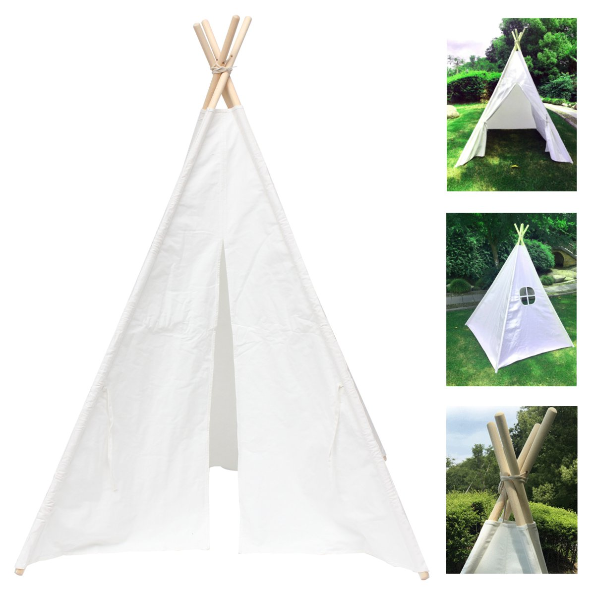 Large Unbleached White Canvas Kid Teepee Portable Folding Outdoor Castle Tent Indian Triangle Tent Children Home Game Toy TentLarge Unbleached White Canvas Kid Teepee Portable Folding Outdoor Castle Tent Indian Triangle Tent Children Home Game Toy Tent