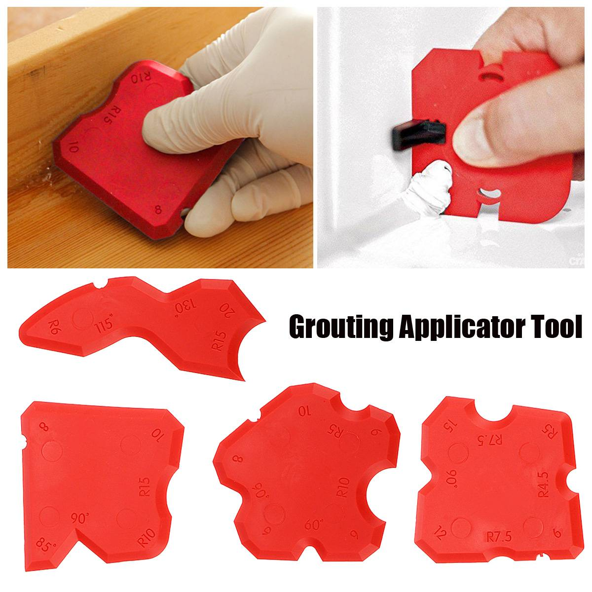 Red Grouting Sealant Silicone Profiling Applicator Caulk Tool For Ceramic Tile Sealant Grout Edge-Remover Scraper Hand Tool Set