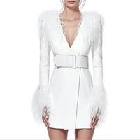 [MENKAY] Patchwork Feather Tassel Dresses For Women V Neck High Waist Long Sleeve With Belt Dress Female 2018 Autumn Fashion