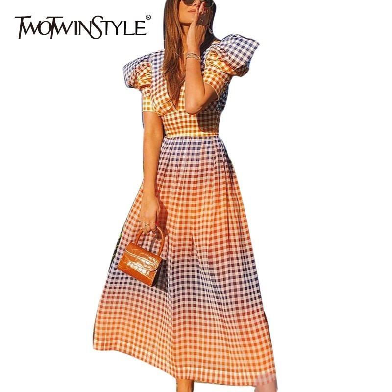 TWOTWINSTYLE Sexy V Neck Plaid Dresses Female High Waist Puff Short Sleeve Hit Color Long Dress