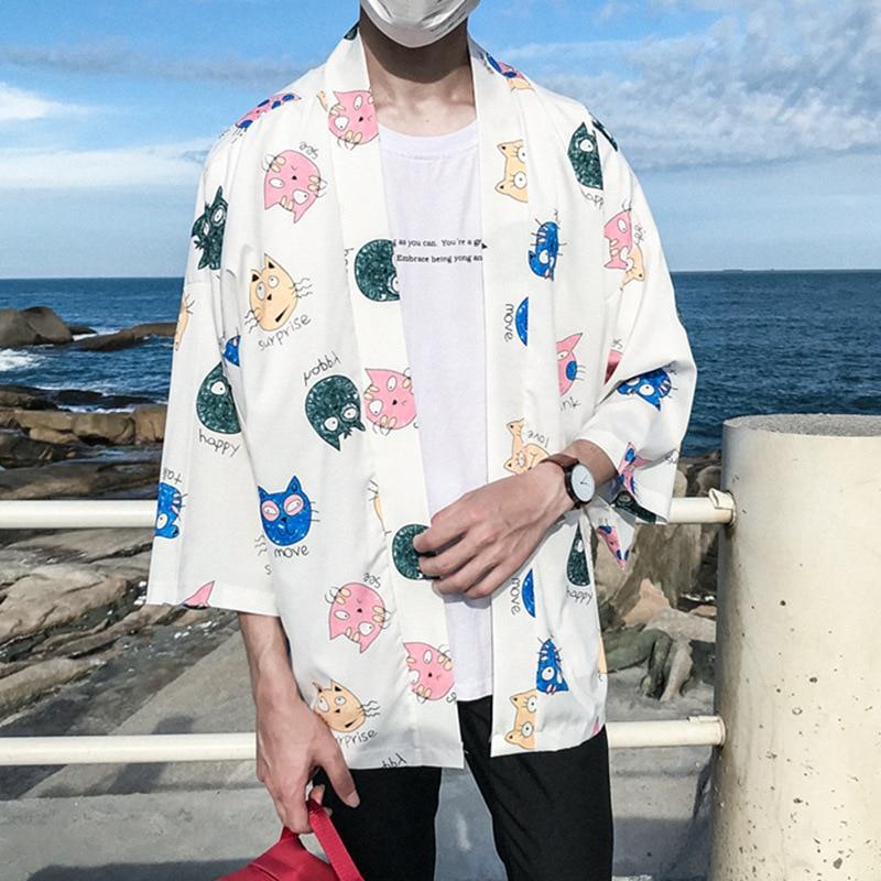Japanese Kimono Shirts Men Half Sleeves Kawaii Kitty Printed Floral Blouse Camisa Beach Casual Streetwear Brand Hawaiian Tops