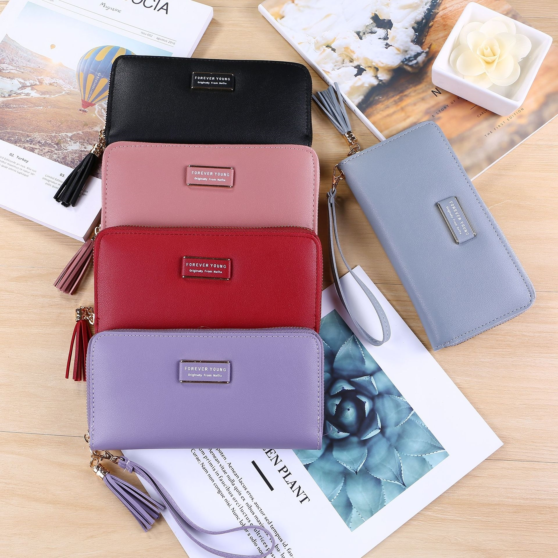 Women 39 s Single Pull Wallet Korean Version Tassel Pendant Lychee Wallet Card Bag Phone Bag in Wallets from Luggage amp Bags