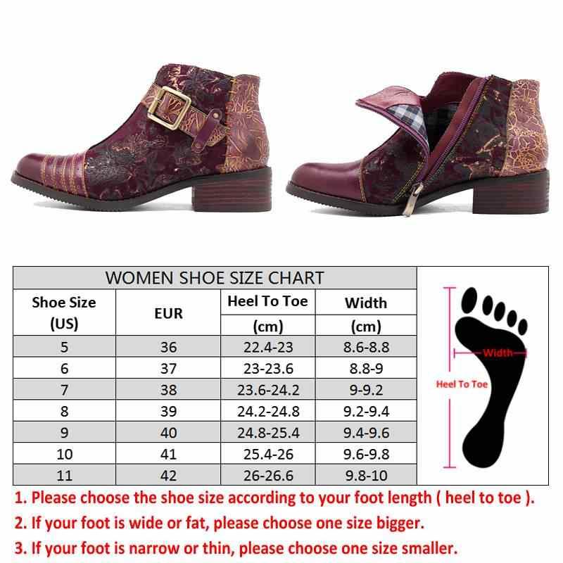Socofy Retro Bohemian รองเท้าผู้หญิงรองเท้าผู้หญิงฤดูใบไม้ผลิฤดูใบไม้ร่วงวัวหนังรถจักรยานยนต์รองเท้าซิปข้อเท้าส้นรองเท้า 2019
