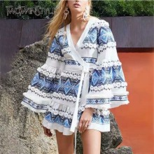 TWOTWINSTYLE Lace Patchwork Casual Womens Bandages V Neck Long Sleeve Dresses Female
