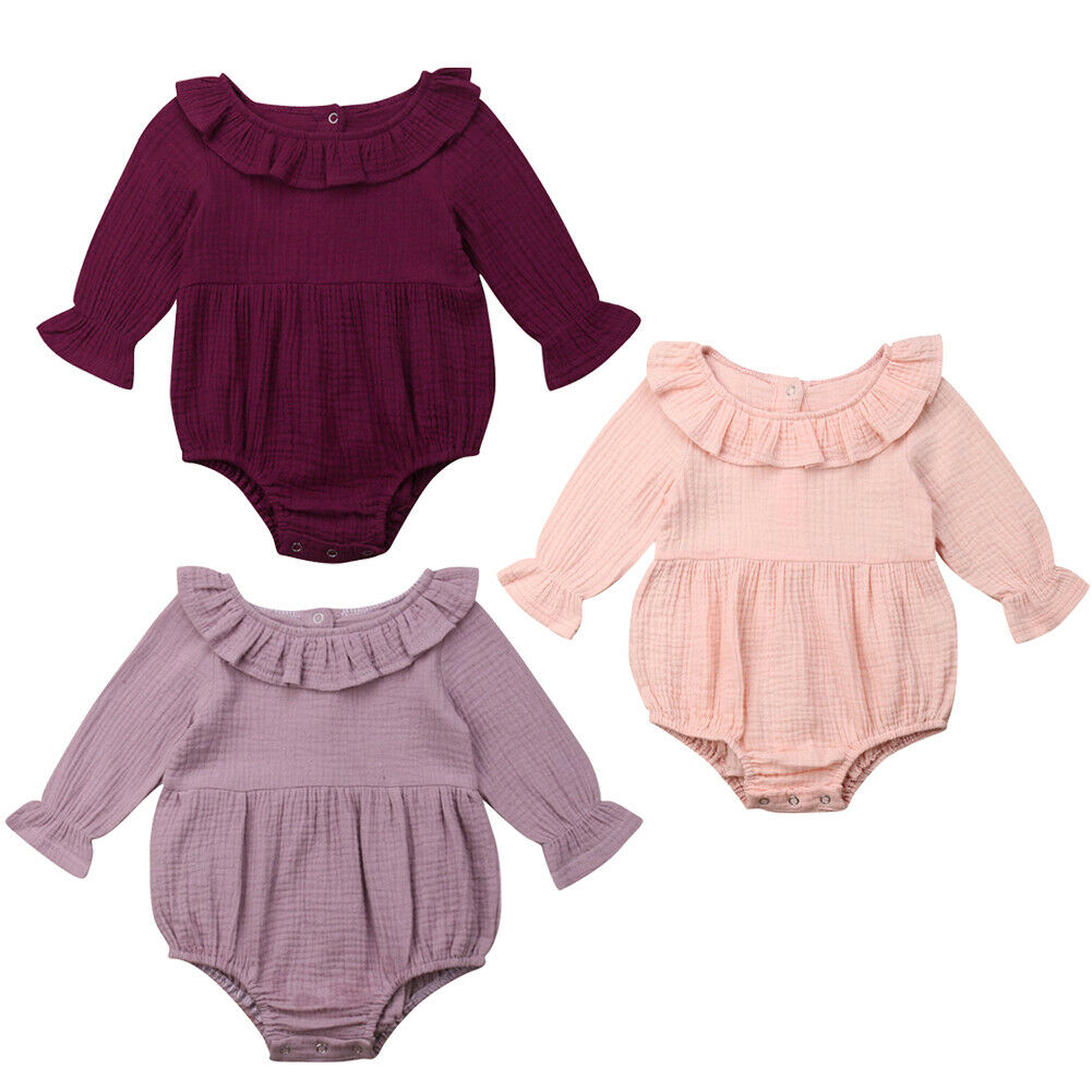 289507a9e 0-24M Cute Newborn Baby Girl Long Sleeve Cape Collar Solid Color Cotton Romper  Jumpsuit Outfits Baby Clothes ~ Free Shipping June 2019