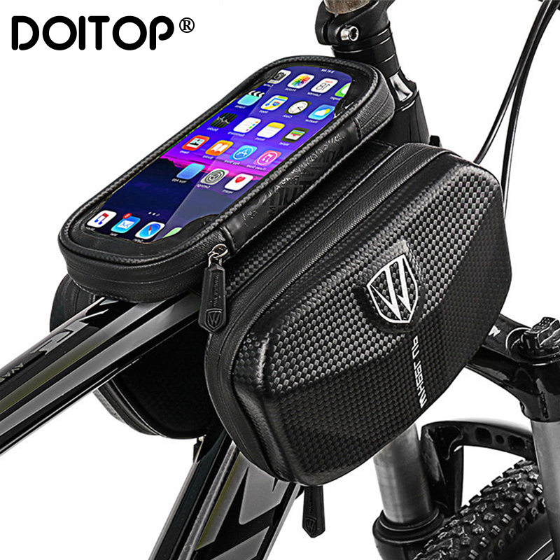 DOITOP Bicycle Top Tube On The Frame Bag Cycling Bike Saddle Pouch Touchscreen Phone Holder Case For IPhone 7 8 Plus Samsung S7